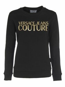 Versace Jeans Couture Black Sweatshirt With Gold Logo