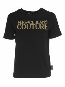 Versace Jeans Couture Black T-shirt With Gold Logo