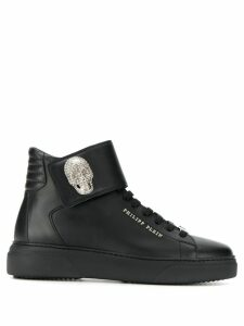Philipp Plein skull appliqué high-top sneakers - Black