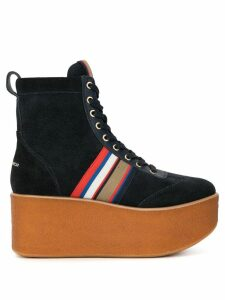 Tory Burch striped ankle platform boots - Blue
