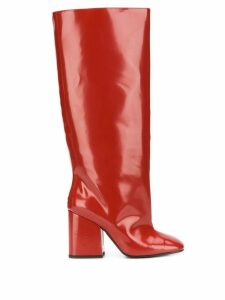 Marni wide leg patent 80mm boot - Red