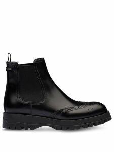 Prada brogue detailed chelsea boots - Black
