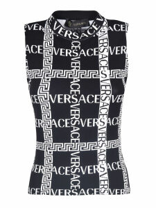 Versace Logo Embroidered Fitted Top