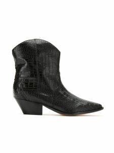 Schutz 50mm croc embossed ankle boots - Black
