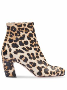 Miu Miu crackled leopard print boots - Brown