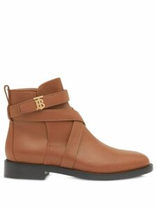 Burberry monogram motif leather ankle boots - Brown