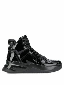 Balmain patent leather high-top sneakers - Black
