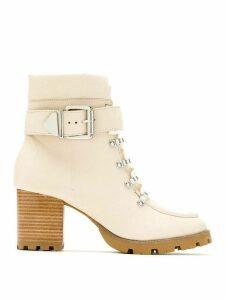 Schutz side buckled mid heel boots - NEUTRALS