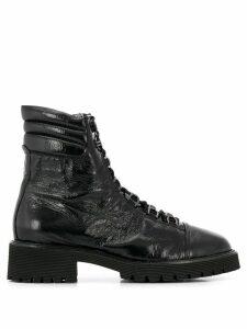Hogl wrinkled effect lace-up boots - Black