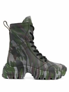 Miu Miu camouflage lace-up boots - Grey