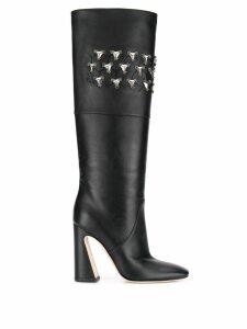Alberta Ferretti crystal-embellished boots - Black