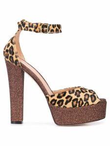 Madison. Maison leopard print platform sandals - Brown
