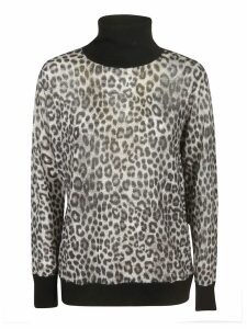 Michael Kors Turtleneck Animal Print Sweater