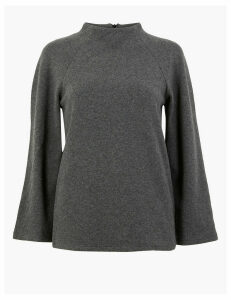 M&S Collection Cotton Blend 3/4 Sleeve Sweatshirt