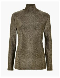 M&S Collection Metallic Long Sleeve Top