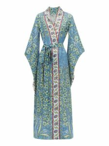 D'Ascoli - Bodrum Floral-print Silk-faille Maxi Dress - Womens - Blue Multi
