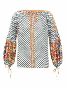 D'ascoli - Byzantium Graphic Print Silk Faille Maxi Blouse - Womens - Blue Multi