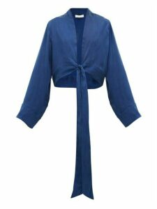 Worme - Front-tie Silk Wrap Top - Womens - Dark Blue