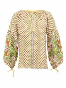 D'ascoli - Byzantium Graphic-print Silk-faille Blouse - Womens - Yellow Multi