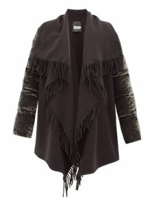 Moncler - Mantella Fringed Quilted-velvet Coat - Womens - Grey