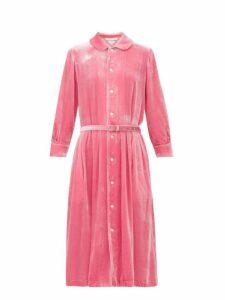 Comme Des Garçons Girl - Belted Peter-pan Collar Velvet Dress - Womens - Pink