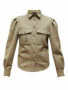 Isabel Marant - Florrie Puffed Sleeve Wool Blend Overshirt - Womens - Khaki