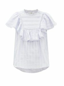 Isabel Marant Étoile - Pleyel Ruffled Striped Cotton Blouse - Womens - Light Blue