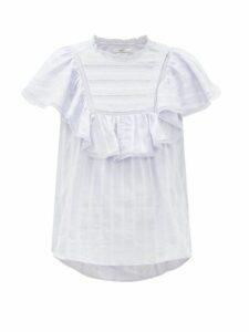 Isabel Marant Étoile - Pleyel Ruffled Striped Cotton Blouse - Womens - Light Blue