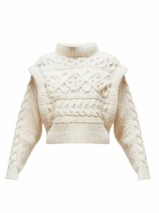Isabel Marant - Milane Cable Knit Merino Wool Sweater - Womens - Ivory