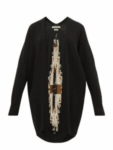 Queene And Belle - Sonora Geometric Intarsia Cashmere Cardigan - Womens - Black Multi