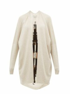 Queene And Belle - Sonora Geometric-intarsia Cashmere Cardigan - Womens - Ivory Multi
