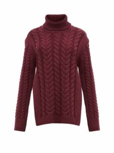 Tibi - Cutout-back Cable-knit Wool-blend Sweater - Womens - Burgundy