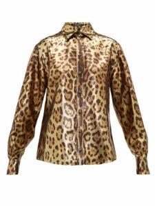 Dolce & Gabbana - Leopard-print Silk-blend Lamé Shirt - Womens - Leopard