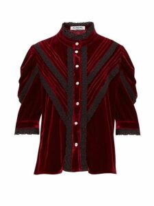Àcheval Pampa - Yegula Mock Neck Velvet Blouse - Womens - Burgundy