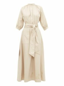 Àcheval Pampa - Stag-embroidered Mock-collar Canvas Dress - Womens - Beige