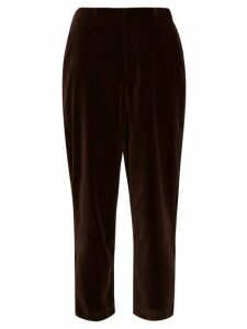 Àcheval Pampa - Al Viento High-rise Velvet Tapered Trousers - Womens - Brown