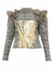Matty Bovan - Ruffled Liberty Print Poplin Blouse - Womens - Green Multi
