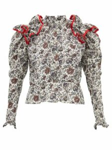 Matty Bovan - Ruffled Liberty-print Poplin Blouse - Womens - Black White