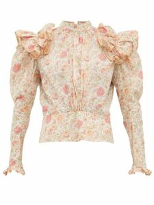 Matty Bovan - Ruffled Liberty Print Poplin Blouse - Womens - Light Pink