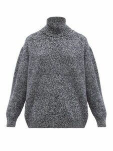 Queene And Belle - Charley Marled-lambswool Roll-neck Sweater - Womens - Navy Multi