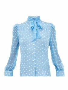 Edeltrud Hofmann - Sofi Polka Dot Print Silk Blouse - Womens - Blue White