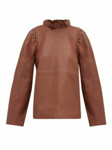 Sea - Lidia Ruffled-neck Leather Top - Womens - Brown