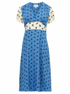 HVN - Paula Cherry-print Silk Midi Dress - Womens - Blue Multi