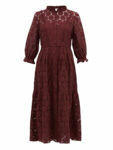 Apiece Apart - Suenos Broderie-anglaise Cotton-blend Midi Dress - Womens - Burgundy