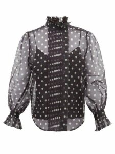Marc Jacobs - Polka-dot Silk-organza Blouse - Womens - Black