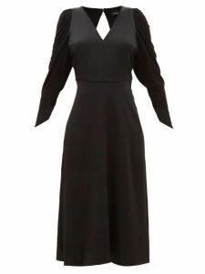Atlein - Draped Jersey And Satin Midi Dress - Womens - Black