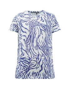 Proenza Schouler - Zebra Print Cotton Jersey T Shirt - Womens - Blue White