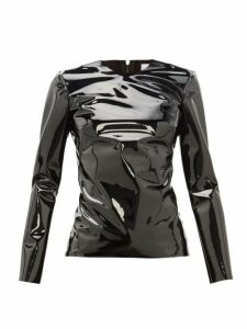 Raey - Zip Back Patent Vinyl Top - Womens - Black