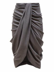 Isabel Marant - Datisace Draped Wool Jersey Midi Skirt - Womens - Grey