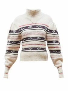 Isabel Marant - Conley High-neck Striped Sweater - Womens - Ivory Multi